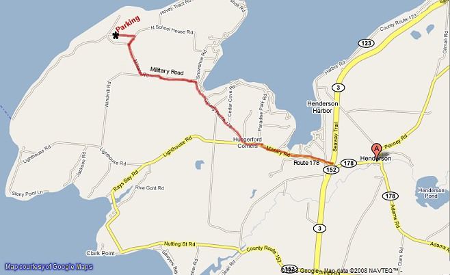 General directions map from Route 3